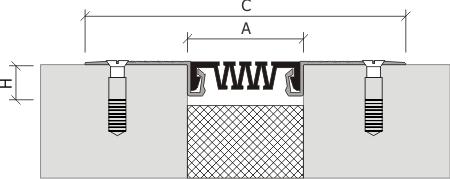 Монтажная схема профиля для деформационного шва ДШС-50