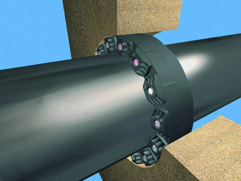 Монтажная схема гидроизоляции ввода трубы через бетонную стену ЛинкСил-Гидромикс