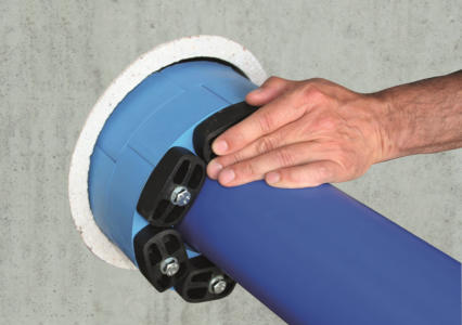 Уплотнитель для труб гидроизоляция проходки Прессио (Гидромикс) - монтаж Прессио или Линксила на трубу Шаг 2