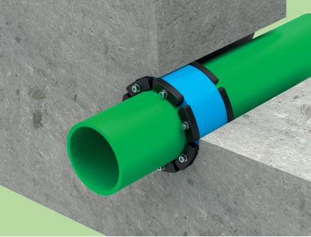 Монтажная схема гидроизоляции ввода трубы через бетонную стену Прессио-Рингс-Гидромикс